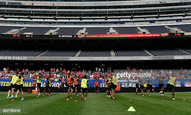 Steven Gerrard of Liverpool leads the team during a training session before the first game in the Guinness International Champions Cup between...