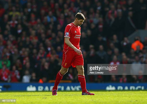 Steven Gerrard of Liverpool leaves the field after being sent off during the Barclays Premier League match between Liverpool and Manchester United at...