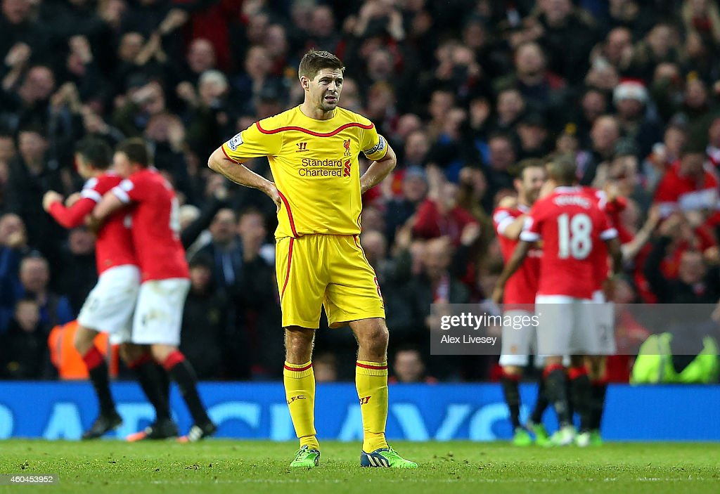 Steven Gerrard of Liverpool looks dejected after his team conceded the third goal during the Barclays Premier League match between Manchester United and Liverpool at Old Trafford on December 14, 2014 in Manchester, England.