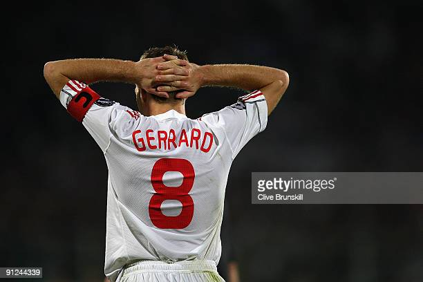 Steven Gerrard of Liverpool looks dejected during the UEFA Champions League Group E match between Fiorentina and Liverpool at the Stadio Artemio...