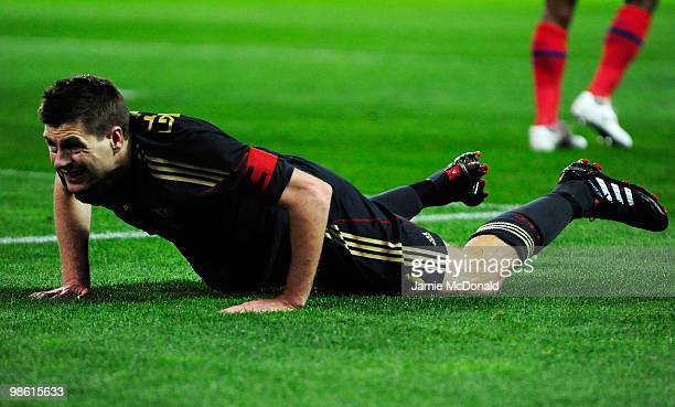 Steven Gerrard of Liverpool looks despondent after a missed chance during the UEFA Europa League Semi Final first leg match between Atletico Madrid...