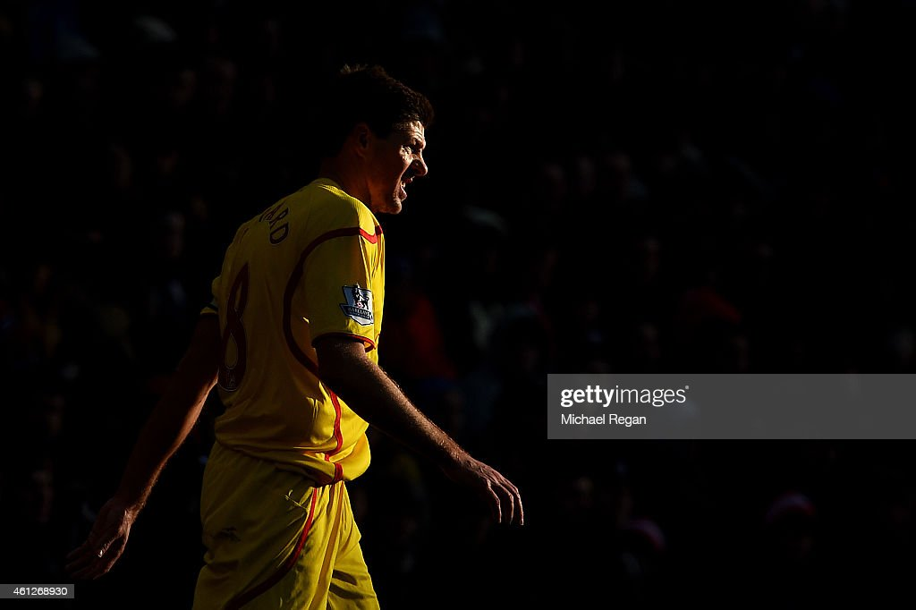 Steven Gerrard of Liverpool looks on during the Barclays Premier League match between Sunderland and Liverpool at Stadium of Light on January 10, 2015 in Sunderland, England.