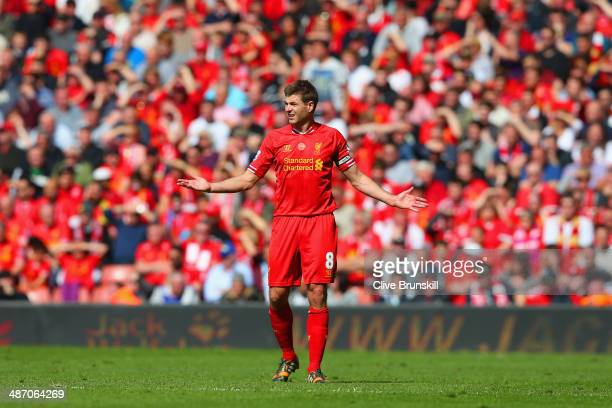 Steven Gerrard of Liverpool looks on during the Barclays Premier League match between Liverpool and Chelsea at Anfield on April 27 2014 in Liverpool...