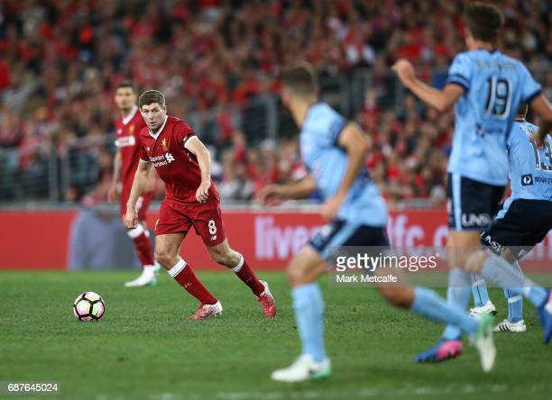 Steven Gerrard of Liverpool looks to pass during the International Friendly match between Sydney FC and Liverpool FC at ANZ Stadium on May 24 2017 in...
