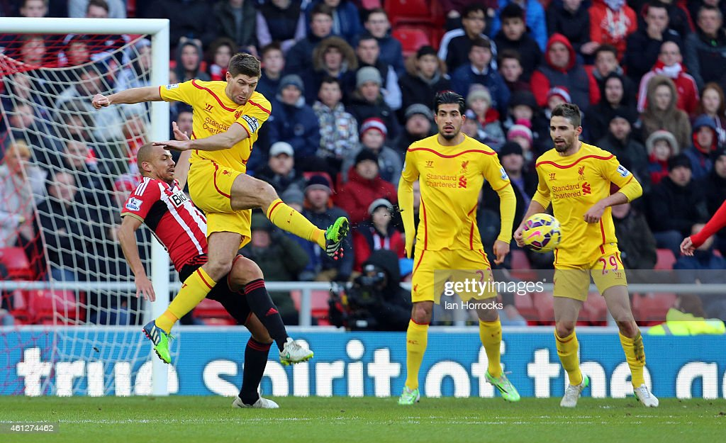 Steven Gerrard of Liverpool makes a clearance during the Barclays Premier League match between Sunderland and Liverpool at the Stadium of Light on January 10, 2015 in Sunderland, England.