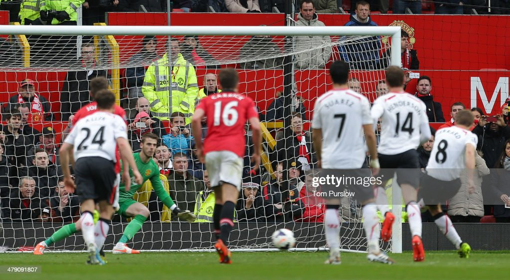 Steven Gerrard of Liverpool misses a penalty during the Barclays Premier League match between Manchester United and Liverpool at Old Trafford on March 16, 2014 in Manchester, England.