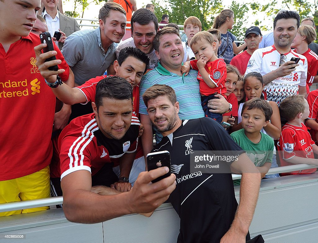 Steven Gerrard of Liverpool poses for a selfie after a training session at Princeton University on July 28, 2014 in Princeton, New Jersey.
