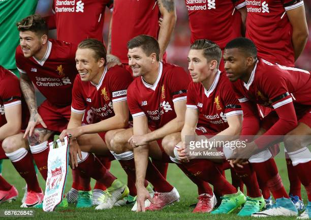 Steven Gerrard of Liverpool poses in the team line up before the International Friendly match between Sydney FC and Liverpool FC at ANZ Stadium on...