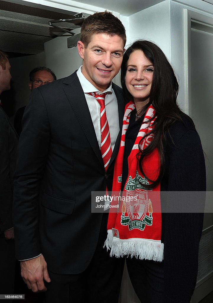 (THE SUN OUT, THE SUN ON SUNDAY OUT) Steven Gerrard of Liverpool poses with Lana Del Rey after the Barclays Premier League match between Liverpool and Tottenham Hotspur at Anfield on March 10, 2013 in Liverpool, England.