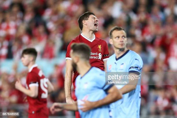 Steven Gerrard of Liverpool reacts after missing a chance during the International Friendly match between Sydney FC and Liverpool FC at ANZ Stadium...
