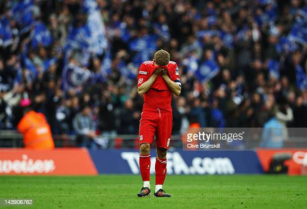 Steven Gerrard of Liverpool reacts at the final whistle during the FA Cup with Budweiser Final match between Liverpool and Chelsea at Wembley Stadium...