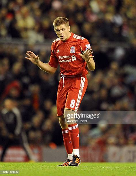 Steven Gerrard of Liverpool reacts during the Barclays Premier League match between Liverpool and Blackburn Rovers at Anfield on December 26 2011 in...