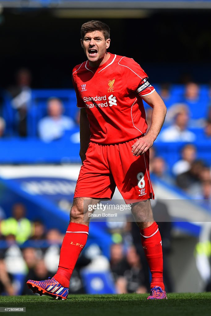 Steven Gerrard of Liverpool reacts during the Barclays Premier League match between Chelsea and Liverpool at Stamford Bridge on May 10, 2015 in London, England.
