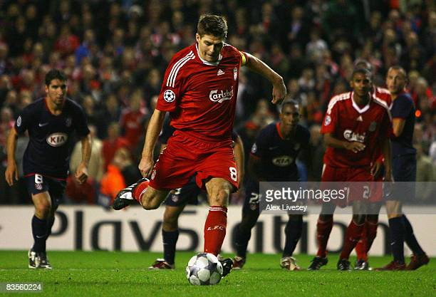 Steven Gerrard of Liverpool scores an equalising goal from the penalty spot during the UEFA Champions League Group D match between Liverpool and...