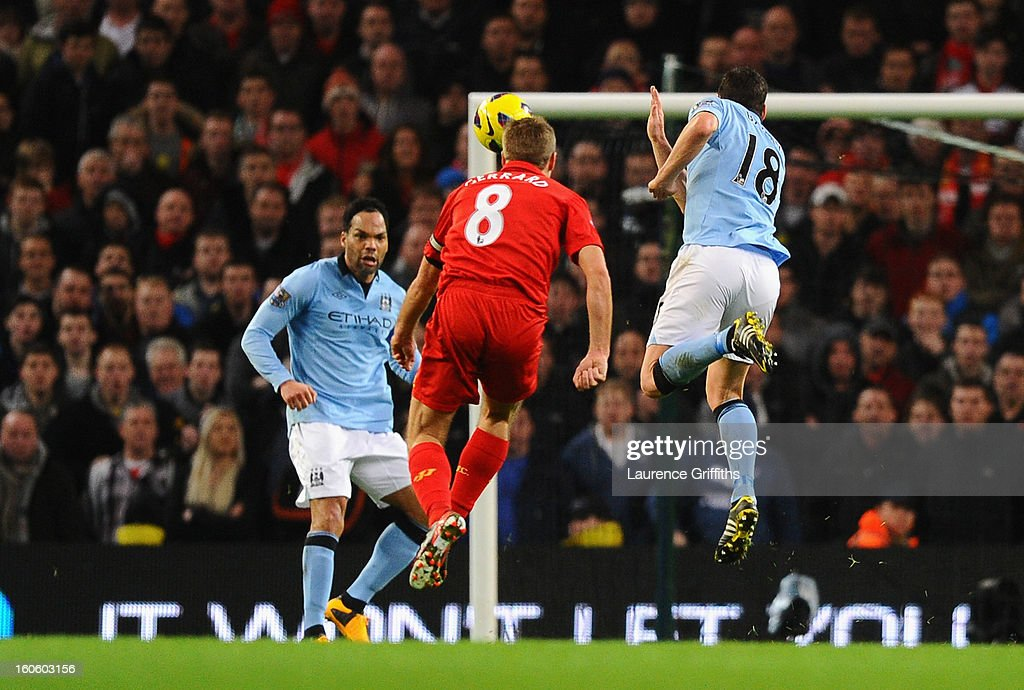 Steven Gerrard of Liverpool scores his team's second goal during the Barclays Premier League match between Manchester City and Liverpool at the Etihad Stadium on February 3, 2013 in Manchester, England.