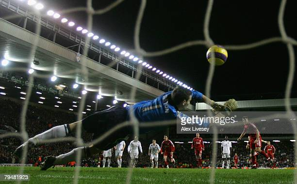 Steven Gerrard of Liverpool scores his team's third goal from the penalty spot past Craig Gordon of Sunderland during the Barclays Premier League...