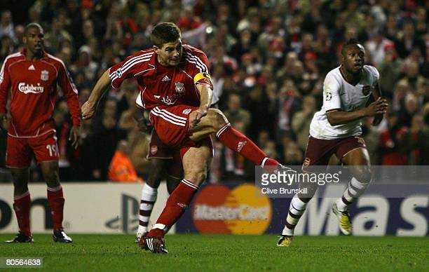 Steven Gerrard of Liverpool scores his team's third goal from the penalty spot during the UEFA Champions League Quarter Final second leg match...