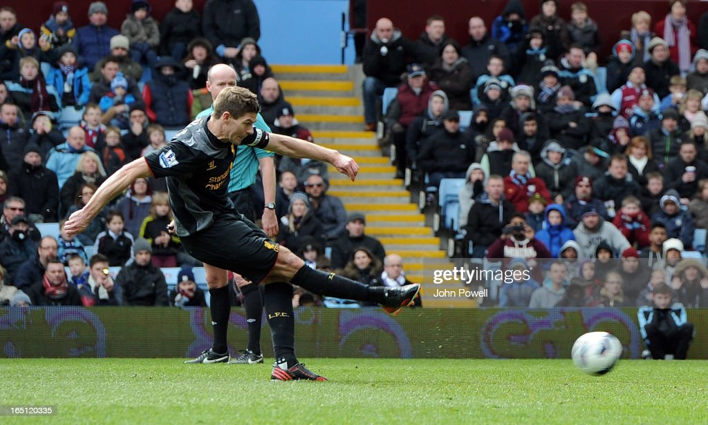 Steven Gerrard of Liverpool scores their second from the penalty spot during the Barclays Premier League match between Aston Villa and Liverpool at Villa Park on March 31, 2013 in Birmingham, England.