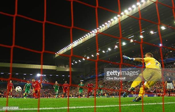 Steven Gerrard of Liverpool scores their second goal from the penalty spot during the UEFA Champions League Group B match between Liverpool FC and...
