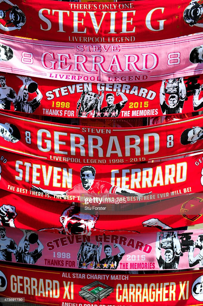 Steven Gerrard of Liverpool scraves are sold prior to the Barclays Premier League match between Liverpool and Crystal Palace at Anfield on May 16, 2015 in Liverpool, England.
