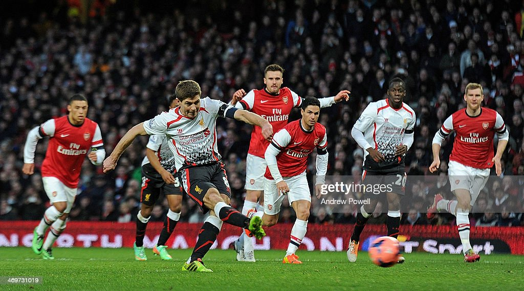 Steven Gerrard Of Liverpool Scroes A Penalty During The Fa Cup Fifth Round Match Between Arsenal
