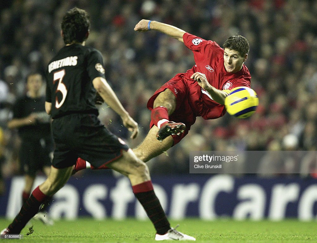 Steven Gerrard of Liverpool shoots, only to see his goal dissalowed during the Champions League Group A match between Liverpool and Olympiakos at Anfield on December 8, 2004 in Liverpool, England.