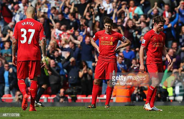Steven Gerrard of Liverpool shows his dejection during the Barclays Premier League match between Liverpool and Chelsea at Anfield on April 27 2014 in...