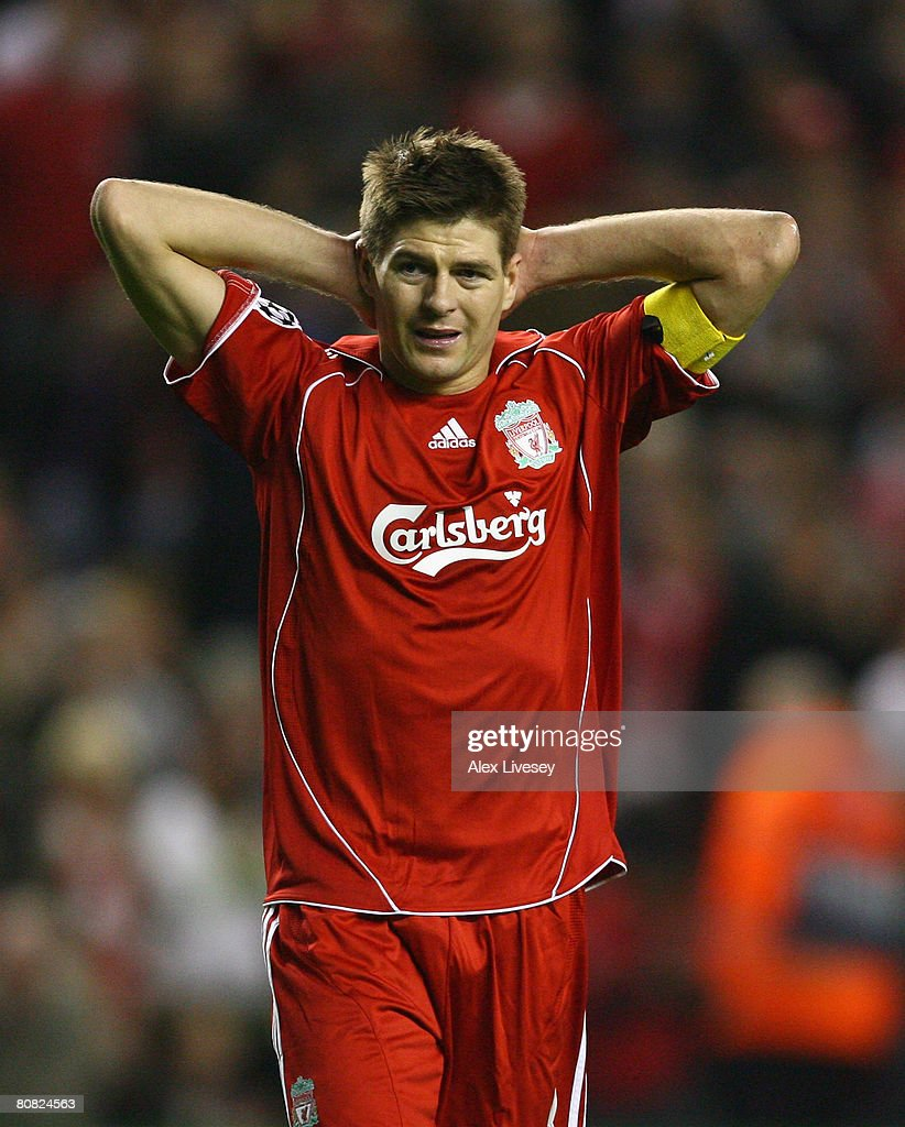 Steven Gerrard of Liverpool shows his dejection during the UEFA Champions League Semi Final, first leg match between Liverpool and Chelsea at Anfield on April 22, 2008 in Liverpool, England.