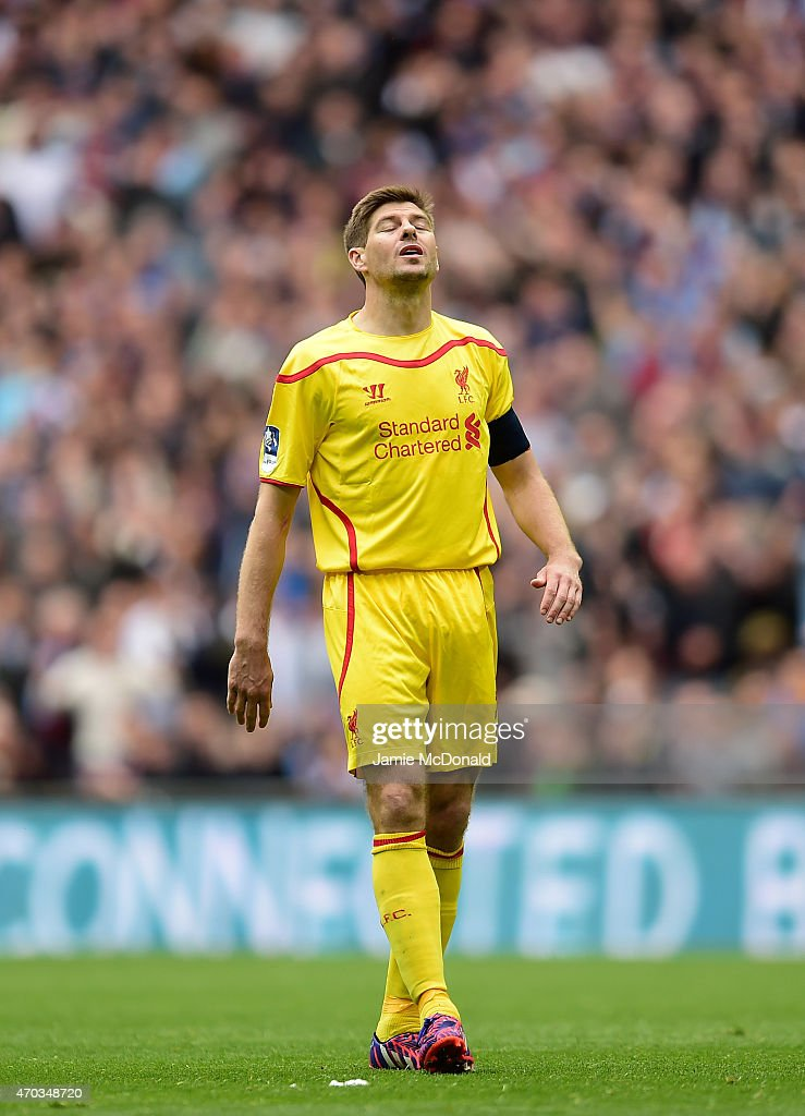 Steven Gerrard of Liverpool shows his frustation during the FA Cup Semi Final between Aston Villa and Liverpool at Wembley Stadium on April 19, 2015 in London, England.