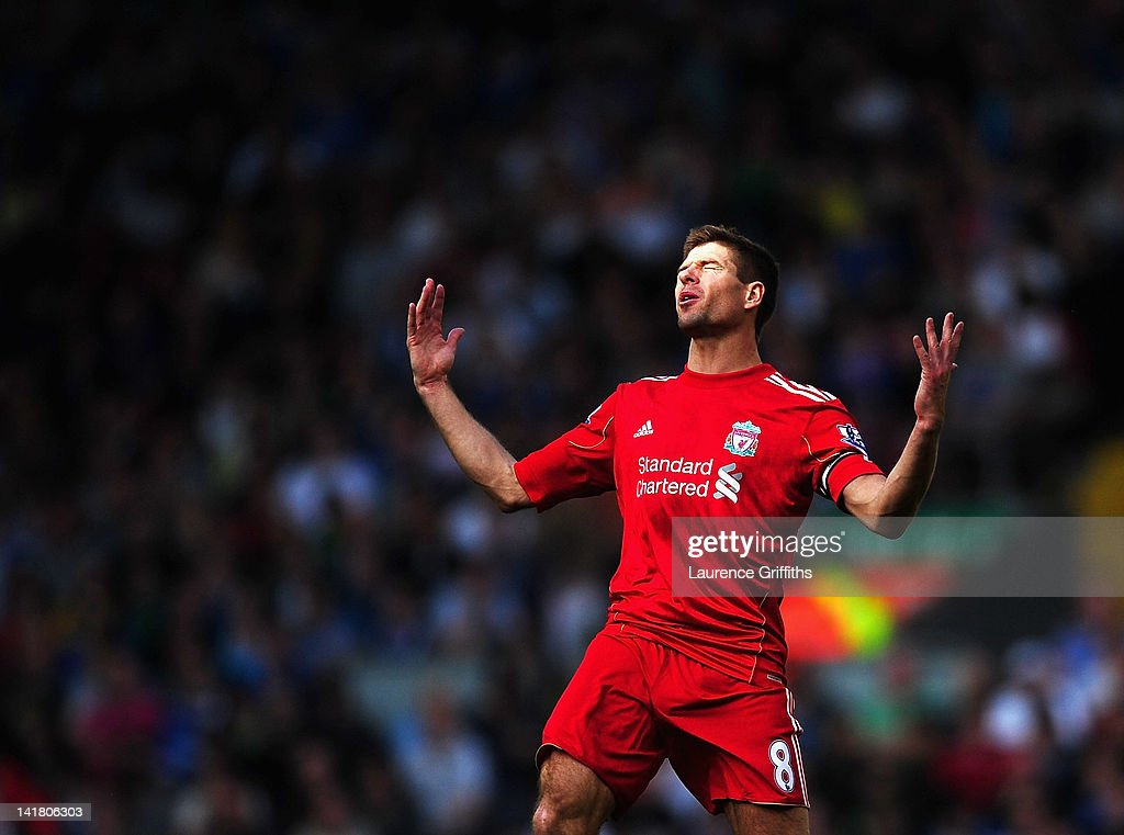 Steven Gerrard of Liverpool shows his frustrations during the Barclays Premier League match between Liverpool and Wigan Athletic at Anfield on March 24, 2012 in Liverpool, England.