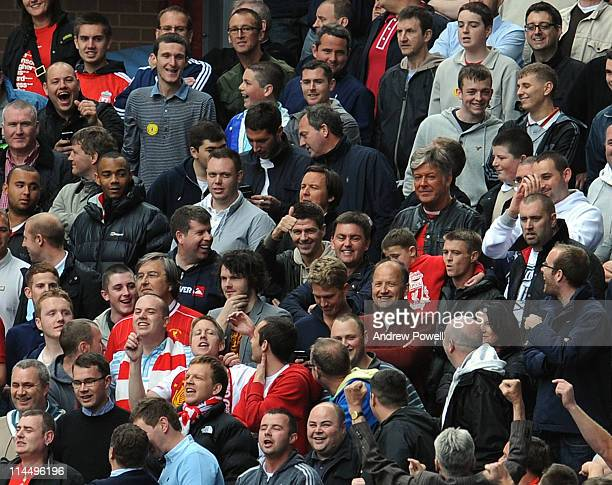 Steven Gerrard of Liverpool sits in the crowd during the Barclays Premier League match between Aston Villa and Liverpool at Villa Park on May 22 2011...