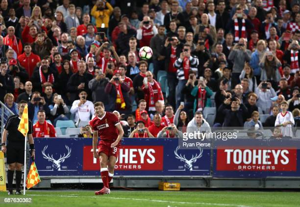 Steven Gerrard of Liverpool takes a corner during the International Friendly match between Sydney FC and Liverpool FC at ANZ Stadium on May 24 2017...