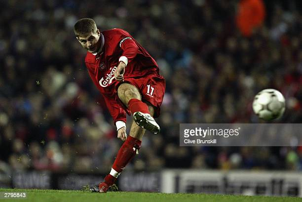Steven Gerrard of Liverpool takes a free kick during the UEFA Cup second round second leg match between Liverpool and Steaua Bucharest at Anfield in...