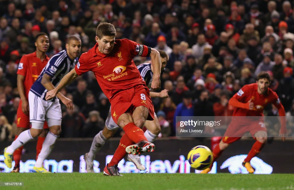 Steven Gerrard of Liverpool takes and subsequently misses a penalty kick during the Barclays Premier League match between Liverpool and West Bromwich Albion at Anfield on February 11, 2013 in Liverpool, England.