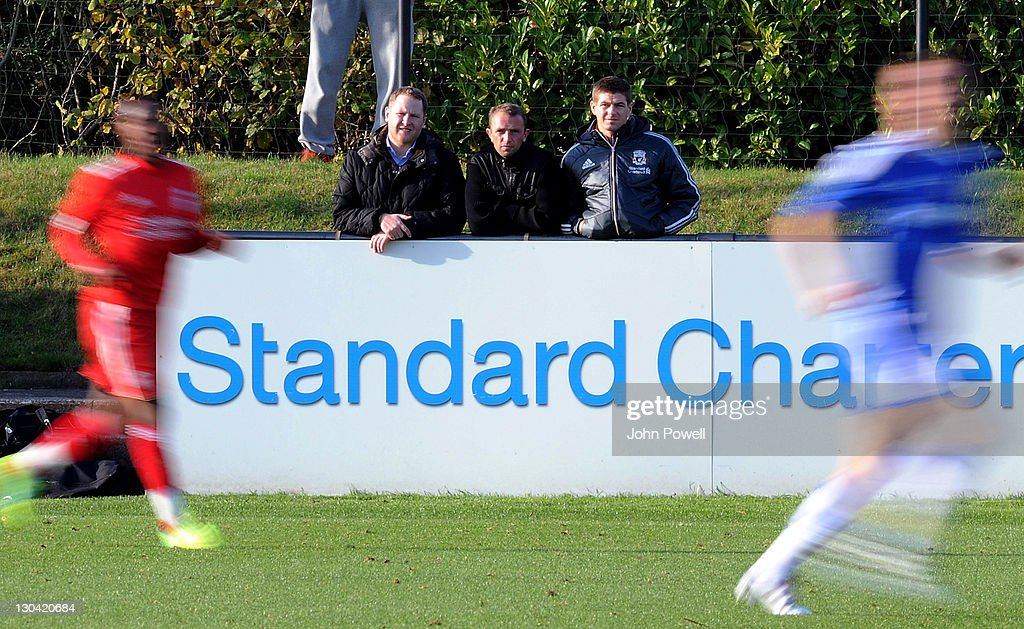 Steven Gerrard of Liverpool watching the Barclays Premier Reserve League match between Liverpool Reserves and Chelsea Reserves on October 26, 2011 in Liverpool, England.