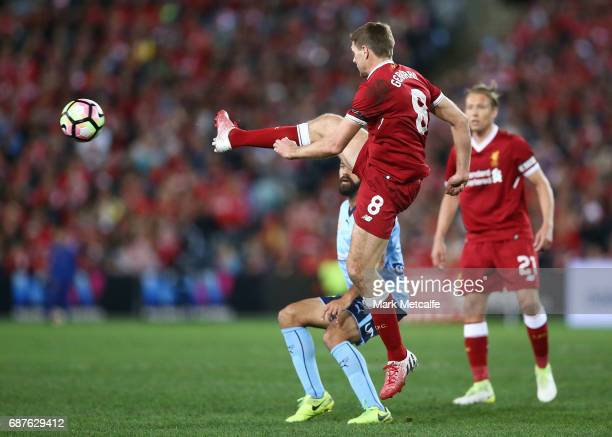 Steven Gerrard of Liverpool wins the ball during the International Friendly match between Sydney FC and Liverpool FC at ANZ Stadium on May 24 2017 in...