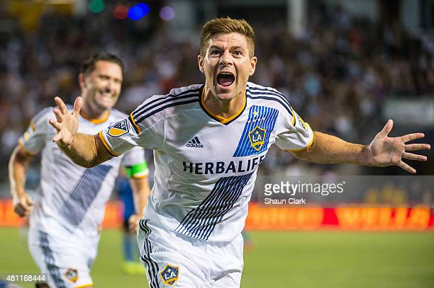 Steven Gerrard of Los Angeles Galaxy celebrates his first goal for the Los Angeles Galaxy during Los Angeles Galaxy's MLS match against San Jose...