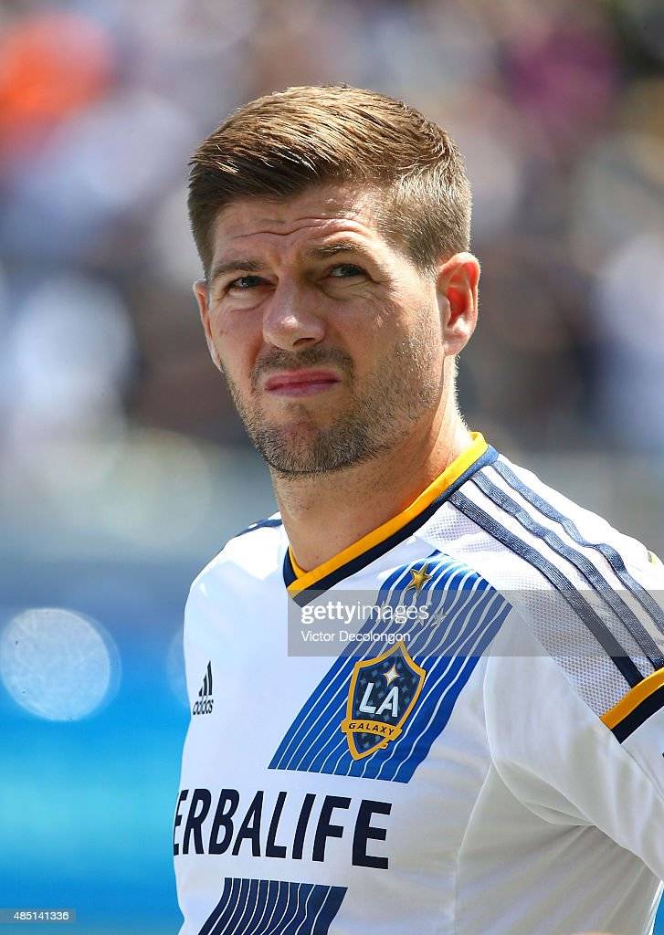 Steven Gerrard #8 of Los Angeles Galaxy looks on during singing of the national anthem prior to the MLS match against the New York City FC at StubHub Center on August 23, 2015 in Los Angeles, California. The Galaxy defeated NYCFC