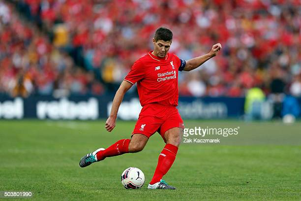 Steven Gerrard of the Liverpool Legends makes a pass during the match between Liverpool FC Legends and the Australian Legends at ANZ Stadium on...
