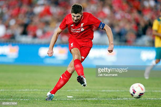 Steven Gerrard of the Liverpool Legends shoots at goal during the match between Liverpool FC Legends and the Australian Legends at ANZ Stadium on...