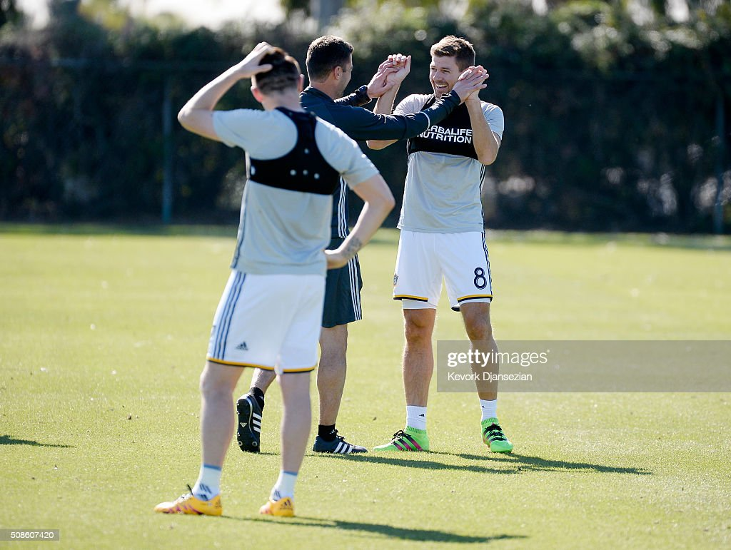 Steven Gerrard #8 of the Los Angeles Galaxy during a training session at StubHub Center February 5, 2016, in Carson, California.