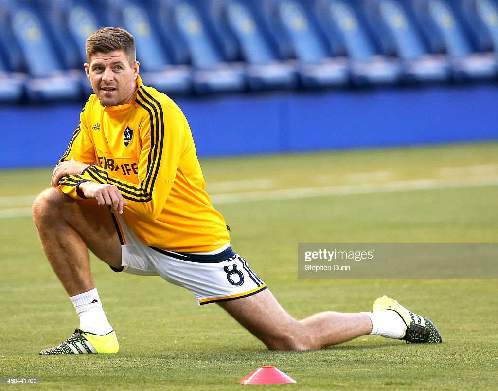Steven Gerrard #8 of the Los Angeles Galaxy stretches before the match with Club America in the International Champions Cup 2015 at StubHub Center on July 11, 2015 in Los Angeles, California.