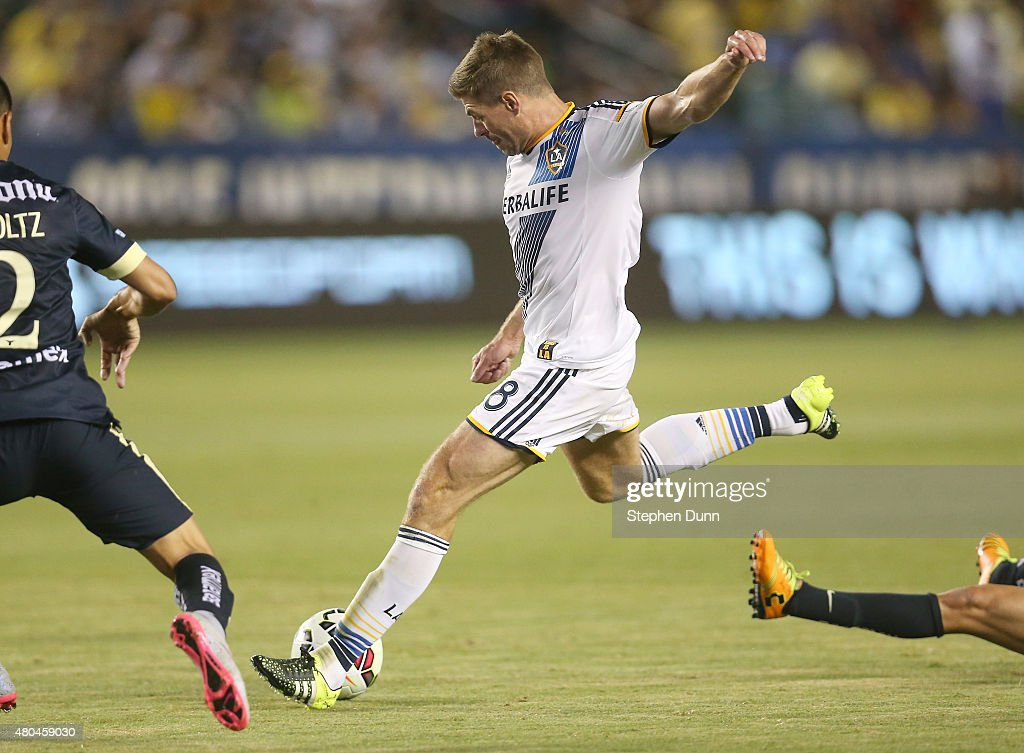 Steven Gerrard #8 of the Los Angeles Galaxy takes a shot against Club America in the International Champions Cup 2015 at StubHub Center on July 11, 2015 in Los Angeles, California.