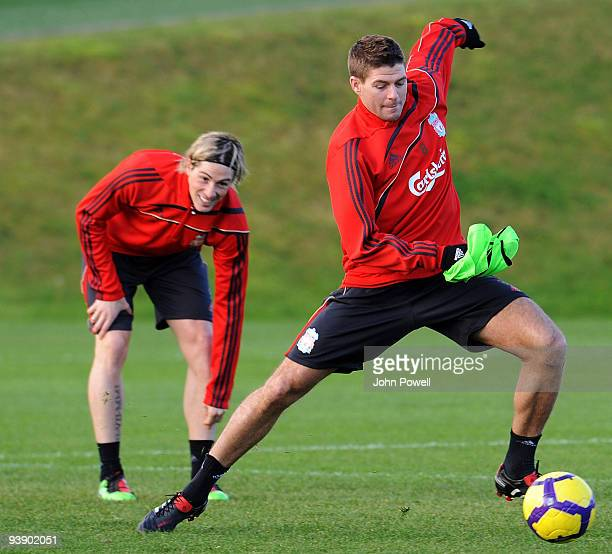 Steven Gerrard on the ball with Fernando Torres behind during a Liverpool FC training session at Melwood training ground on December 4 2009 in...