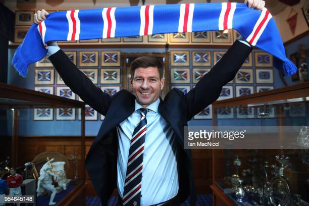 Steven Gerrard shakes hands with Dave King as he is unveiled as the new manager of Rangers football Club at Ibrox Stadium on May 4 2018 in Glasgow...