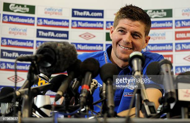 Steven Gerrard speaks to the media during a press conference at London Colney on March 2 2010 in St Albans England