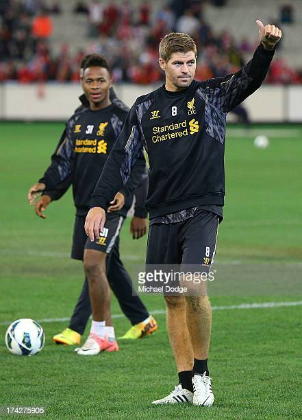 Steven Gerrard thanks the crowd for their support during a Liverpool FC training session at Melbourne Cricket Ground on July 23 2013 in Melbourne...
