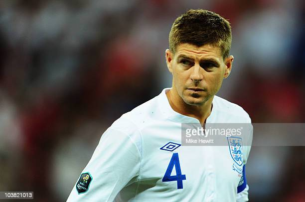 Steven Gerrard the England captain is seen during the UEFA EURO 2012 Group G Qualifying match between England and Bulgaria at Wembley Stadium on...