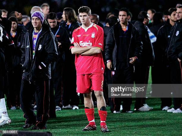 Steven Gerrard the Liverpool looks dejected at the end of the FIFA Club World Championship Toyota Cup 2005 Final between Liverpool and Sao Paulo at...