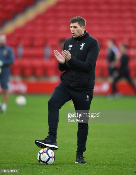Steven Gerrard the Liverpool Manager during the warm up before the FA Youth Cup 4th Round match between Liverpool and Arsenal at Anfield on January...